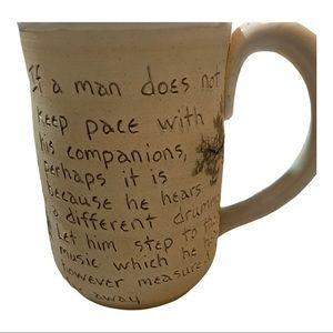 Handmade quotable pottery mug Thoreau quote